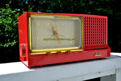 SOLD! - Dec 9, 2017 - CORAL Pink Mid Century Retro Vintage 1959 Arvin Model 957T AM Tube Clock Radio Works Great!