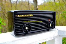 Load image into Gallery viewer, SOLD! - Nov 27, 2017 - BLUETOOTH MP3 READY - Panther Black Retro Jetsons 1959 Motorola Model 57R Tube AM Clock Radio Totally Restored!