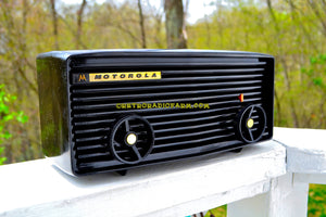 SOLD! - Nov 27, 2017 - BLUETOOTH MP3 READY - Panther Black Retro Jetsons 1959 Motorola Model 57R Tube AM Clock Radio Totally Restored!