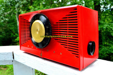 Load image into Gallery viewer, SOLD! - Sept 17, 2017 - MATADOR RED Mid Century Vintage 1955 Emerson Model 812B Tube AM Clock Radio Rare Color Sounds Great!