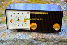 Load image into Gallery viewer, SOLD! - May 26, 2017 - BLUETOOTH MP3 READY - Chocolate Brown Retro Jetsons 1959 Motorola Model 5C12M Tube AM Clock Radio Totally Restored!