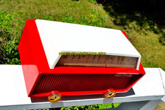 SOLD! - Sept 24, 2017 - RED RIDING HOOD Mid Century Retro Vintage 1956 Olympic Model 552 Tube AM Radio Totally Sick!