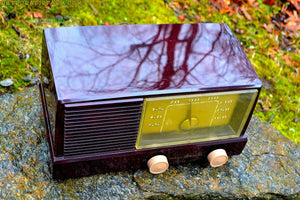 SOLD! - May 27, 2017 - BLUETOOTH MP3 READY - Burgundy Marbled 1950 General Electric Model 414 AM Tube Radio - [product_type} - General Electric - Retro Radio Farm