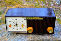 SOLD! - May 26, 2017 - BLUETOOTH MP3 READY - Chocolate Brown Retro Jetsons 1959 Motorola Model 5C12M Tube AM Clock Radio Totally Restored!