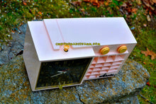 Load image into Gallery viewer, SOLD! - Mar 7, 2018 - BLUETOOTH MP3 READY - POWDER Pink Mid Century Retro Jetsons 1957 Arvin 5561 Tube AM Clock Radio Works Great!