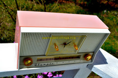 SOLD! - May 26, 2017 - PASTEL PINK Mid Century Retro Jetsons 1956 Olympic Model 555 AM Clock Radio Excellent Plus Condition!