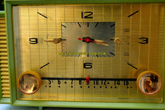MINT GREEN Mid Century Retro Vintage 1959 Admiral 298 Tube AM Clock Radio Sounds Great!