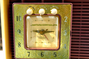 SOLD! - Apr 18, 2017 - BUTTERSCOTCH Retro Space Age 1955 Sylvania R5485-9211 Tube AM Clock Alarm Radio Almost Pristine! - [product_type} - Sylvania - Retro Radio Farm