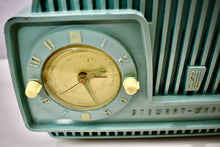 Load image into Gallery viewer, Aqua Turquoise 1954 Stewart Warner Model 9187E Vacuum Tube AM Clock Radio Rare Color Quality Manufacturer!