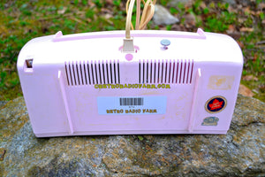 SOLD! - June 15, 2017 - JUDY Jetson Pink Mid Century Retro Antique 1957 Philips Model B1C12U AM Tube Clock Radio Totally Restored and Rare As Can Be! - [product_type} - Philips - Retro Radio Farm