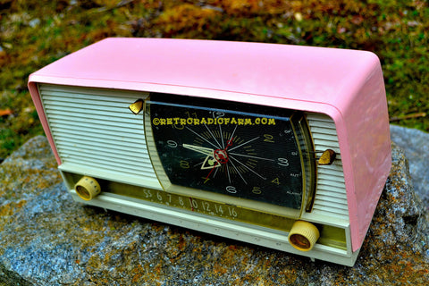 SOLD! - Apr 29, 2017 - BEAUTIFUL Powder Pink And White Retro Jetsons 1958 RCA Victor 9-C-71 Tube AM Clock Radio Works Great!