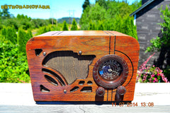 SOLD! - July 19, 2014 - ART DECO Wood Retro Vintage Antique 1937 Airline 62-245 AM Tube Radio WORKS! , Vintage Radio - Airline, Retro Radio Farm  - 6