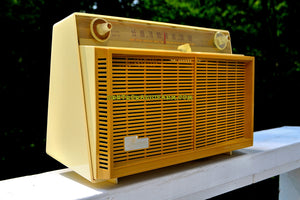 SOLD! - Sept 20, 2017 - BUTTERSCOTCH Yellow Mid Century Retro Vintage 1958 General Electric Musaphonic T-116A Tube AM Radio Sounds Dreamy!