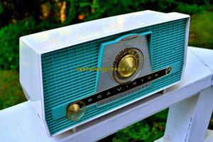 SOLD! - Aug 13, 2017 - AQUA AND WHITE Atomic Age Vintage 1959 RCA Victor Model X-4HE Tube AM Radio Near Mint and Shiny! - [product_type} - RCA Victor - Retro Radio Farm