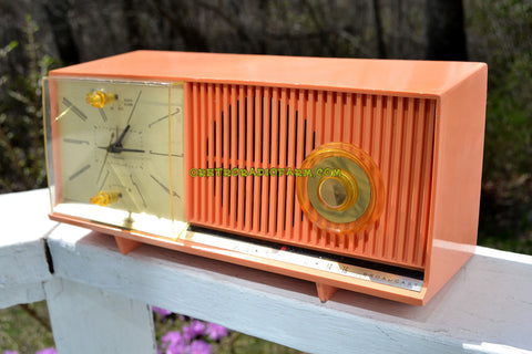 PEACH PINK Mid Century Retro Jetsons 1958 Silvertone Model 90235 AM Clock Radio Totally Restored!