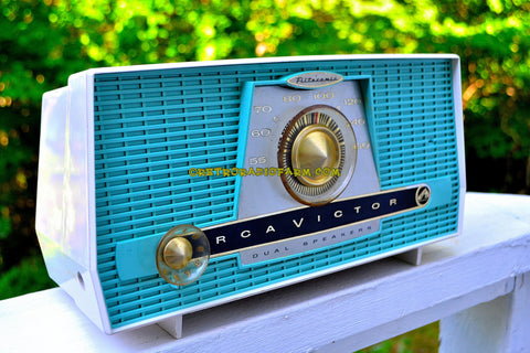 SOLD! - Aug 13, 2017 - AQUA AND WHITE Atomic Age Vintage 1959 RCA Victor Model X-4HE Tube AM Radio Near Mint and Shiny!
