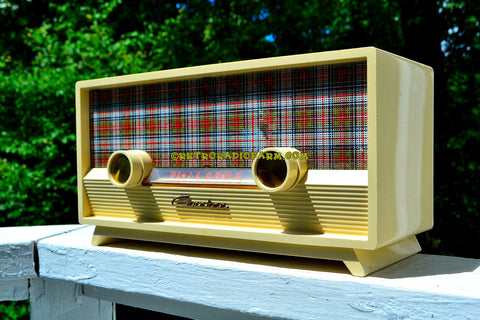 MAD FOR PLAID Ivory Mid Century Retro Vintage 1954 Capehart Model T-54 AM Tube Radio Totally Restored!