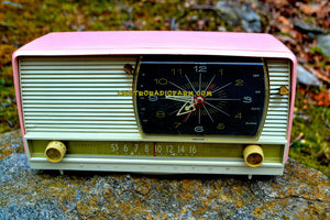 SOLD! - Apr 29, 2017 - BEAUTIFUL Powder Pink And White Retro Jetsons 1958 RCA Victor 9-C-71 Tube AM Clock Radio Works Great! - [product_type} - RCA Victor - Retro Radio Farm