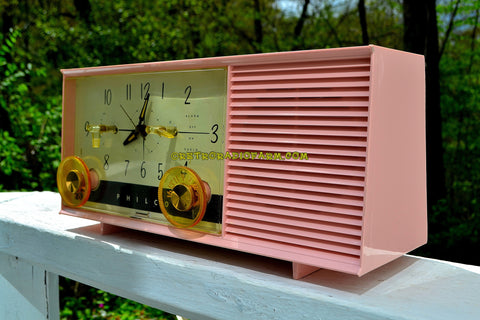 SOLD! - May 8, 2017 - DAISY PINK Mid-Century Retro Vintage 1959 Philco Model F-762-124 AM Tube Clock Radio Totally Restored!