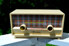 SOLD! - Dec 24, 2017 -  MAD FOR PLAID Ivory 1954 Capehart Model T-54 AM Tube Radio Totally Restored!