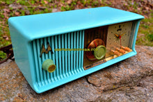 Load image into Gallery viewer, SOLD! - July 12, 2017 - VIVID Turquoise Mid Century Retro Antique Jetsons 1957 Motorola 57CC Tube AM Clock Radio Totally Restored! - [product_type} - Motorola - Retro Radio Farm