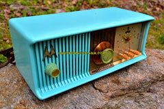 VIVID Turquoise Mid Century Retro Antique Jetsons 1957 Motorola 57CC Tube AM Clock Radio Totally Restored!