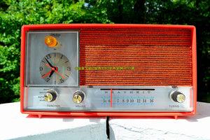 SOLD! - Nov 18, 2017 - CLEMENTINE ORANGE Mid Century Vintage 1960s Heathkit Model GR-38 AM Solid State Radio Impossible Rare Color Industrial Quality!