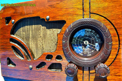 SOLD! - July 19, 2014 - ART DECO Wood Retro Vintage Antique 1937 Airline 62-245 AM Tube Radio WORKS! , Vintage Radio - Airline, Retro Radio Farm  - 7