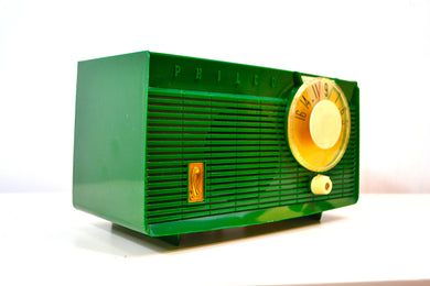 SOLD! - Dec. 11, 2018 - Lime Green 1958 Philco Model F815-124 Tube AM Radio Totally Restored Rare Color! - [product_type} - Philco - Retro Radio Farm