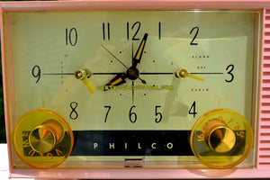 SOLD! - May 8, 2017 - DAISY PINK Mid-Century Retro Vintage 1959 Philco Model F-762-124 AM Tube Clock Radio Totally Restored! - [product_type} - Philco - Retro Radio Farm