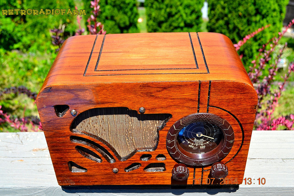 SOLD! - July 19, 2014 - ART DECO Wood Retro Vintage Antique 1937 Airline 62-245 AM Tube Radio WORKS! , Vintage Radio - Airline, Retro Radio Farm  - 1