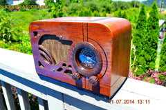 SOLD! - July 19, 2014 - ART DECO Wood Retro Vintage Antique 1937 Airline 62-245 AM Tube Radio WORKS! , Vintage Radio - Airline, Retro Radio Farm  - 3
