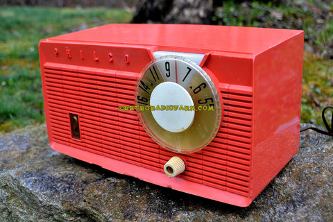 SOLD! - July 21, 2017 - BLUETOOTH MP3 READY - Salmon Pink Retro Mid Century Jetsons Vintage 1958 Philco E-814-124 AM Tube Radio Sounds Great!