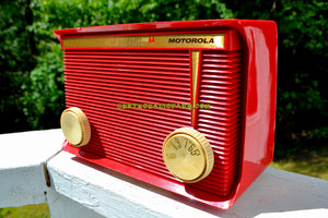 SOLD! - Nov 17, 2017 - BLUETOOTH MP3 READY - APPLE RED Retro Vintage 1959 Motorola Model A1R-15 Tube AM Clock Radio Totally Restored!