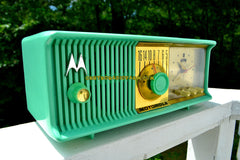 SOLD! - Dec. 8, 2017 - SEA GREEN Mid Century Retro Antique Jetsons 1957 Motorola 57CC Tube AM Clock Radio Totally Restored!