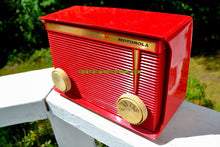 Load image into Gallery viewer, SOLD! - Nov 17, 2017 - BLUETOOTH MP3 READY - APPLE RED Retro Vintage 1959 Motorola Model A1R-15 Tube AM Clock Radio Totally Restored!