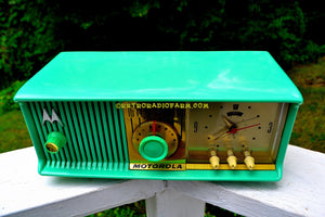 SOLD! - Dec. 8, 2017 - SEA GREEN Mid Century Retro Antique Jetsons 1957 Motorola 57CC Tube AM Clock Radio Totally Restored! - [product_type} - Motorola - Retro Radio Farm