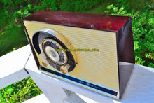Load image into Gallery viewer, SOLD! - Oct 30, 2017 - CHOCOLATE BROWN Mid Century Sputnik Era Vintage 1957 General Electric 862 Tube AM Radio Near Mint!