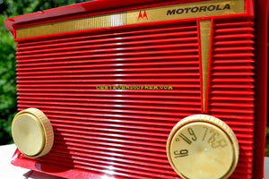 SOLD! - Nov 17, 2017 - BLUETOOTH MP3 READY - APPLE RED Retro Vintage 1959 Motorola Model A1R-15 Tube AM Clock Radio Totally Restored! - [product_type} - Motorola - Retro Radio Farm