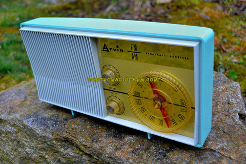 SOLD! - Dec. 18, 2017 - BLUETOOTH MP3 READY - AM FM TURQUOISE Retro Mid Century Jetsons Vintage 1962 Arvin Model 31R26 Tube Radio Amazing!