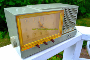 SOLD! - Dec 26, 2018 - Sage Green Mid Century Retro Vintage 1956 Arvin Model 957T AM Tube Clock Radio Works Great! - [product_type} - Arvin - Retro Radio Farm