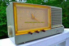 SAGE GREEN Pink Mid Century Retro Vintage 1956 Arvin Model 957T AM Tube Clock Radio Works Great!