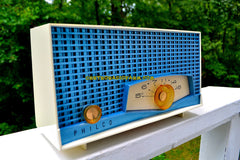 TYROL Blue Metallic Mid Century Retro Antique 1961 Philco Model K821-124 Tube AM Radio Near Mint!