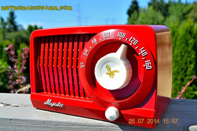 SOLD! - Aug 1, 2014 - CARDINAL RED Art Deco Retro Vintage 1952 Majestic AM Tube AM Radio WORKS! - [product_type} - Admiral - Retro Radio Farm