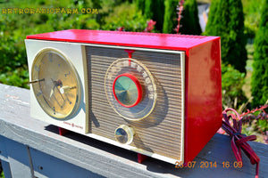 SOLD! - Oct 12, 2014 - CORVETTE RED AND WHITE Retro Jetsons Late 50's early 60's General Electric GE Tube AM Clock Radio WORKS! , Vintage Radio - General Electric, Retro Radio Farm  - 2