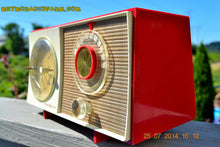 Load image into Gallery viewer, SOLD! - Oct 12, 2014 - CORVETTE RED AND WHITE Retro Jetsons Late 50's early 60's General Electric GE Tube AM Clock Radio WORKS! , Vintage Radio - General Electric, Retro Radio Farm  - 7