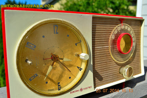 SOLD! - Oct 12, 2014 - CORVETTE RED AND WHITE Retro Jetsons Late 50's early 60's General Electric GE Tube AM Clock Radio WORKS! , Vintage Radio - General Electric, Retro Radio Farm  - 4