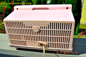 SOLD! - Oct 21, 2014 - PINK AND WHITE Atomic Age Vintage 1959 RCA Victor Model X-2EF Tube AM Radio WORKS! - [product_type} - RCA Victor - Retro Radio Farm