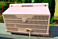 SOLD! - Oct 21, 2014 - PINK AND WHITE Atomic Age Vintage 1959 RCA Victor Model X-2EF Tube AM Radio WORKS! , Vintage Radio - RCA Victor, Retro Radio Farm  - 4