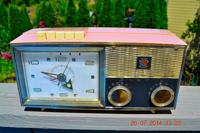 SOLD! - Nov 26, 2014 - PRINCESS Pink Retro Jetsons 1962 Bulova Model 180 Tube AM Clock Radio WORKS! - [product_type} - Bulova - Retro Radio Farm